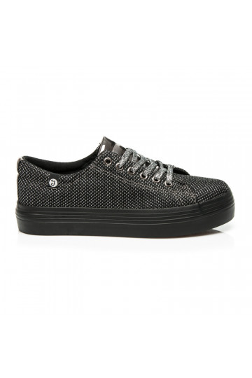Išskirtiniai blizgantys juodai sidabriški storapadžiai batai AB-37S