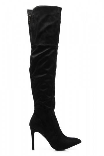 Seksualūs aukštakulniai juodi ilgaauliai batai EL15655B