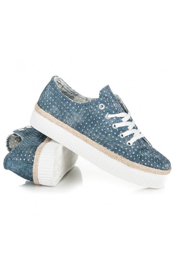 Mėlynos spalvos ažūriniai storapadžiai batai su stilizuotu vidumi K1720501JE