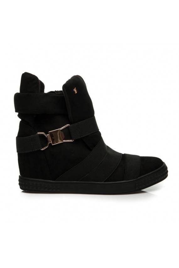 Išskirtiniai juodi Sneakers aulinukai su auksinėmis detalėmis 1066-1B