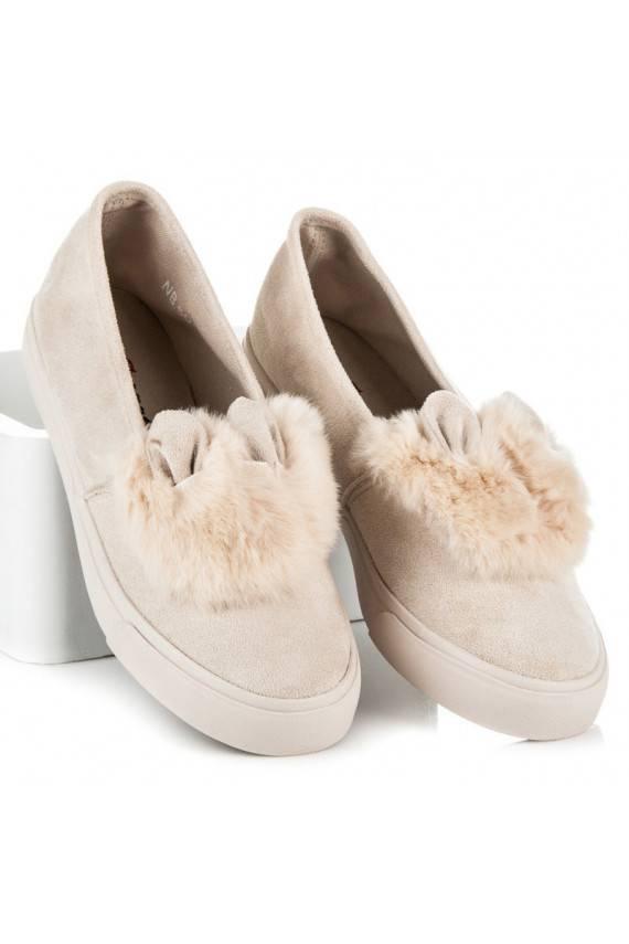 Smėlio spalvos Slip On batai su kailiuku ir ausytėmis NB50BE