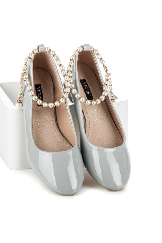 Lakuotos pastelinės pilkos balerinos VICES PEARLS 3047-5G