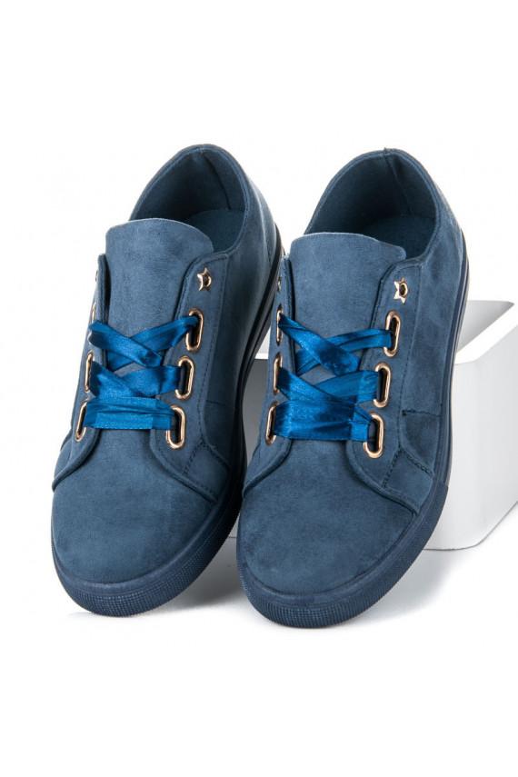 Zomšiniai mėlyni laisvalaikio batai IDEAL su satino batraiščiais V-2688BL