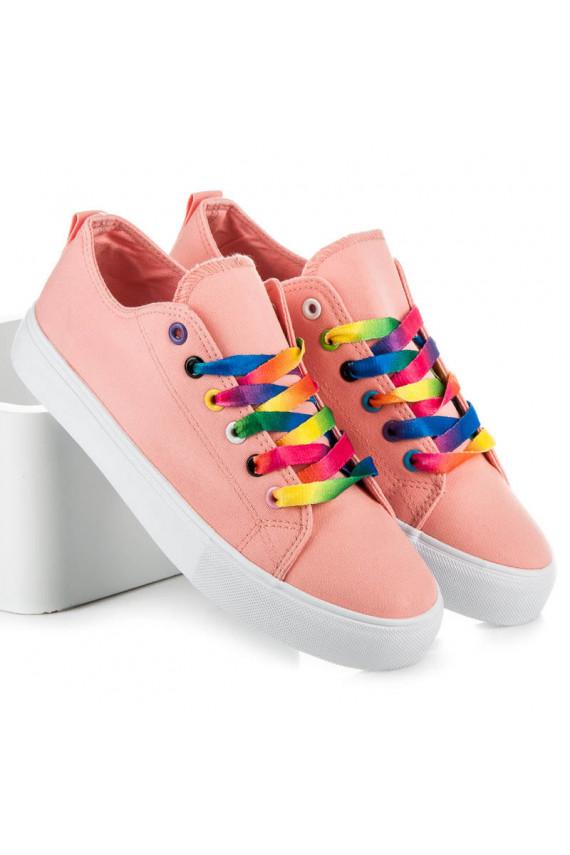 Rausvos spalvos moteriški laisvalaikio batai su spalvotais batraiščiais A-113P
