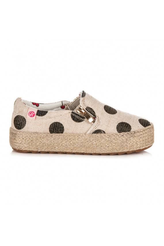 Vaikiški madingi kreminės spalvos tekstiliniai batai su dekoratyviniu užtrauktuku ir juodais taškeliais K1645004NE