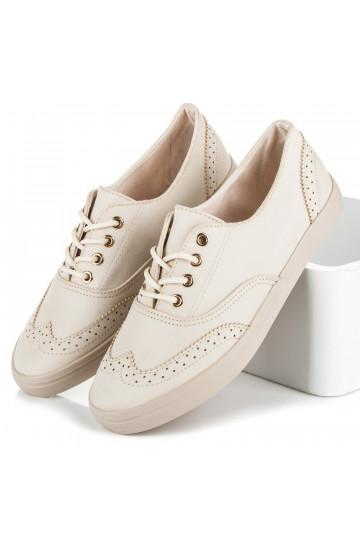 Stilingi smėlio spalvos suvarstomi laisvalaikio stiliaus batai W-3053BE
