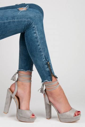 Pilki aukštakulniai sandalai VICES su bohemiškomis detalėmis 1233-5G