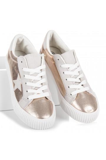Aukso spalvos moteriški laisvalaikio batai su žvaigždėmis PQ-7GO