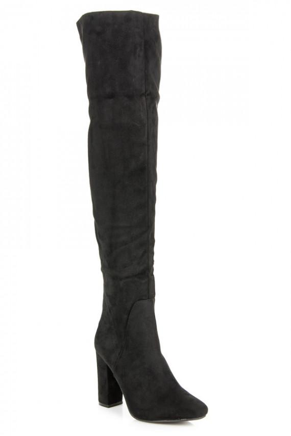 Juodos spalvos ilgaauliai batai su kulniukais C76B