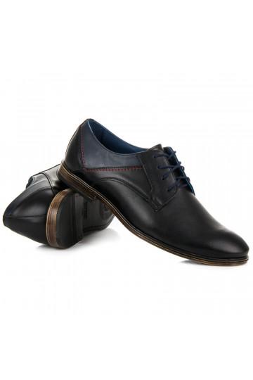 Elegantiški juodi vyriški batai Lucca iš natūralios odos 374B