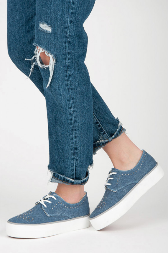 Mėlynos spalvos storapadžiai batai Kylie su kniedyčių ornamentais K1832001JE