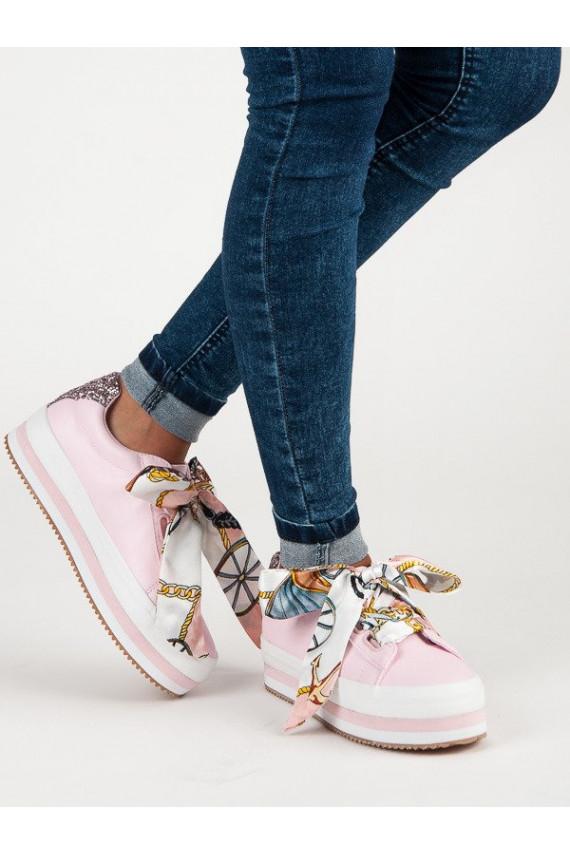 Rausvi storapadžiai batai VICES Silk Scarves 8379-20P