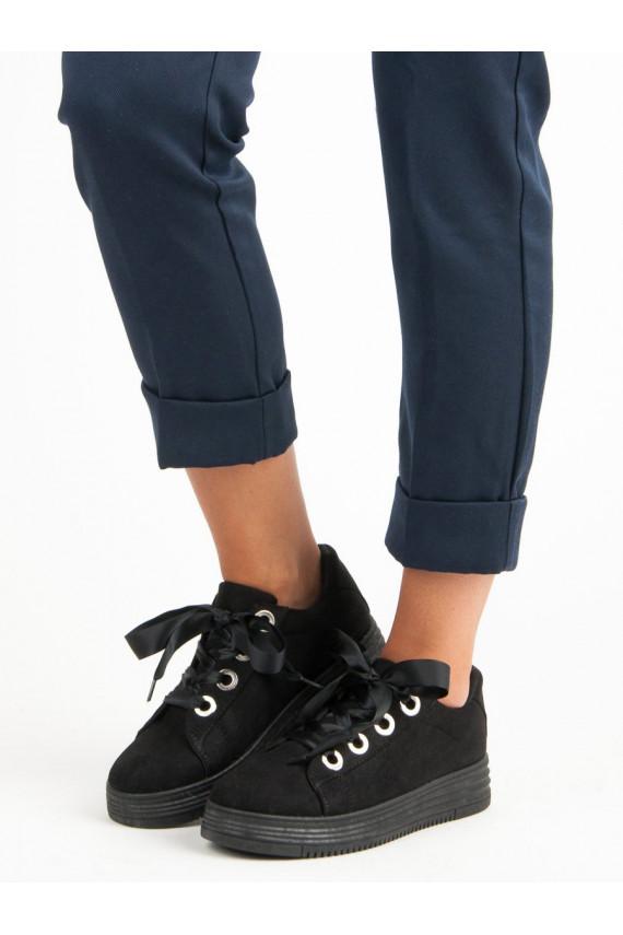 Juodos spalvos moteriški batai su šilkiniais batraiščiais H99-23B