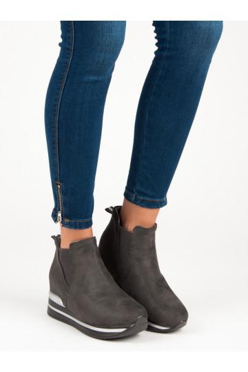 Grafito spalvos išskirtinio dizaino Slip On modelio batai Bestelle su platforma HQ966G