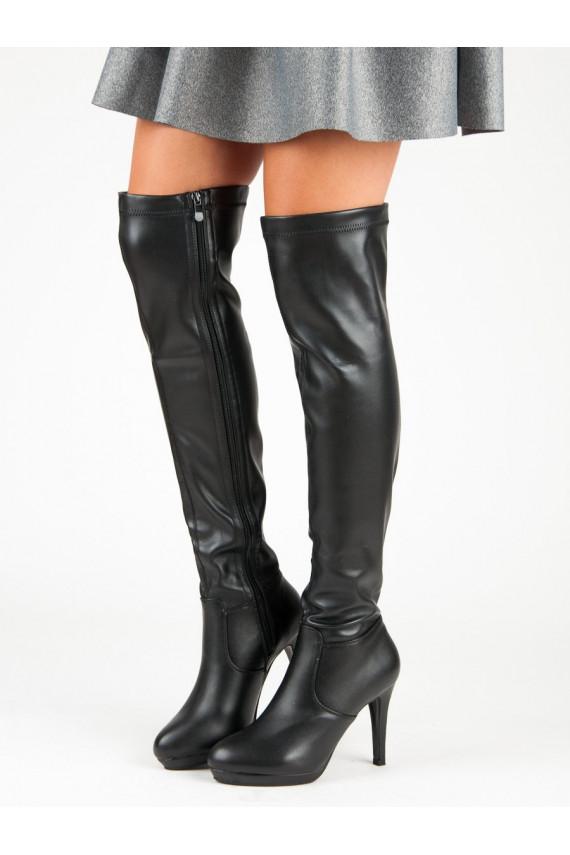 Juodi aukštakulniai ilgaauliai batai su plonais kulniukais K089-1A-B