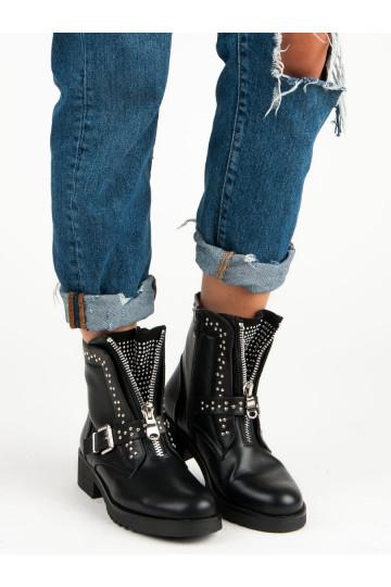 Juodi užtraukiami rokeriško stiliaus batai moterims NC255B