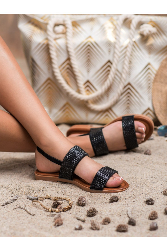 Juodos spalvos sandalai su spindinčiomis akutėmis 9039B