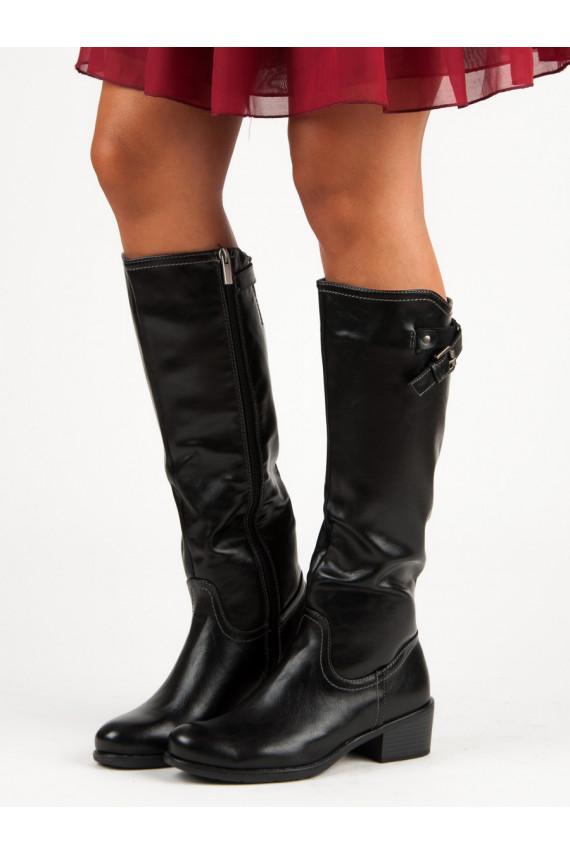 Juodos spalvos ilgaauliai batai VINCEZA XY19-10455B