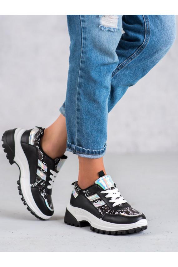 Juodos spalvos Sneakers modelio batai su gyvatės odos imitacija 690051B
